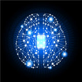 Brain with circuit board texture. Brain with circuit board textur stock illustration