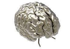 Brain with clipping mask. Metallic brain on white background with clipping mask Royalty Free Stock Photos