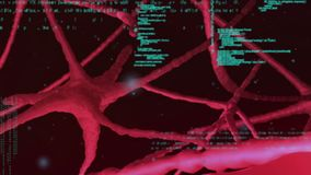 Brain and codes. Digitally generated animation of a brain rotating and then zooming in inside to the veins while codes moves in the foreground stock illustration