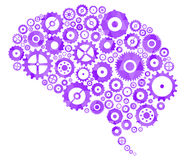 Brain Cogs And Gears. Brain Section Made Of Cogs And Gears Stock Images
