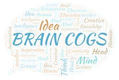 Brain Cogs word cloud. Wordcloud made with text only royalty free illustration