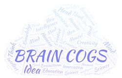 Brain Cogs word cloud. Wordcloud made with text only stock illustration