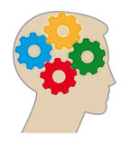 Brain Color Gears. Abstract illustration of a human brain working Like Gears Royalty Free Stock Photo