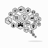 Brain composed of hexagons with web icons. Vector illustration Stock Images