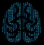 Brain Composition Icon of Halftone Bubbles. Halftone Brain collage icon of spheric bubbles in blue color tints on a black background. Vector spheric parts are Stock Photos