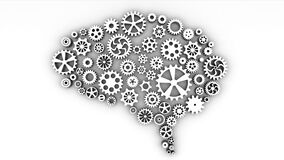 Brain concept of cogs and gears spinning animation. Alpha channel.