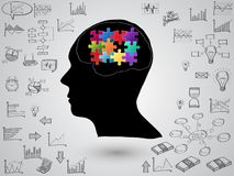 Brain concept with creative doodle graph and chart. Vector Illustration EPS 10 Stock Photos