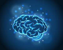 Brain Concept do fundo azul Foto de Stock Royalty Free
