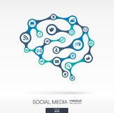 Brain concept with earth, network, social media, technology icons. Abstract medicine background, connected metaball and integrated circles. Brain concept with royalty free illustration