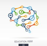 Brain concept for education, learning, knowledge, graduation. Abstract education background with connected metaball and integrated circles. Brain concept for Stock Images
