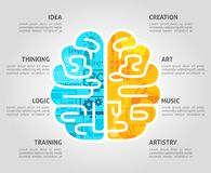 Brain Concept Flat. Brain function concept with left intellectual and right emotional hemispheres flat vector illustration stock illustration