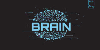 Brain concept futuristic with text Stock Photography