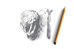 Brain concept. Hand drawn isolated vector. Brain concept. Hand drawn hand holding human brain. Symbol of creativity and inspiration isolated vector illustration Royalty Free Stock Images