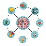 Brain concept imagination mind processes. Vector illustration eps 10 Stock Photography