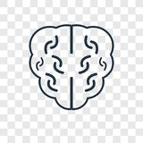 Brain concept vector linear icon isolated on transparent background, Brain concept transparency logo in outline style stock illustration