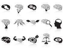 Brain conceptual icons set. Isolated brain conceptual icons set from white background Royalty Free Stock Photo