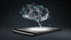 Brain connect digital lines on smartphone, mobile smart pad, grow artificial intelligence