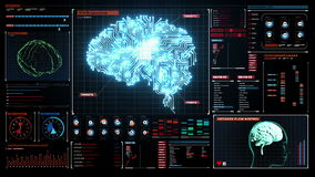 Brain connected CPU chip circuit board in digital display dashboard, grow artificial intelligence