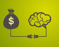 The brain is connected to a bag with money. Motivation concept. The brain is connected to a bag with money Royalty Free Stock Photos