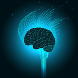 The brain is connected to the electronics emits binary streams in the form of a flame Royalty Free Stock Photography