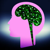 Brain connection. Illustration of a human head shape with digital signs and symbol vector illustration