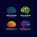Brain connection logo design. digital brain logo template. Brain connection logo design. digital brain logo icon template. smart brain logo icon in modern royalty free illustration