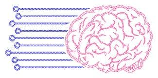 Brain Connections Polygonal Frame Vector Mesh Illustration stock de ilustración