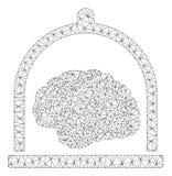 Brain Conservation Polygonal Frame Vetora Mesh Illustration ilustração stock
