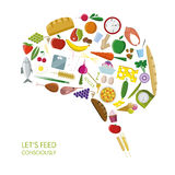 Brain consisting of foods and other objects. Vector isolated  brain consisting of foods and other objects Royalty Free Stock Images