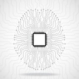 Brain. Cpu. Circuit board. Abstract technology background Royalty Free Stock Photos