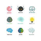 Brain, creation, invention, inspiration, idea vector icons. Inspiration brain logo and idea brain creation illustration Stock Images