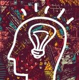 Brain creative head business idea art icon and background. Stock Photo