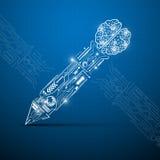 Brain creative pen digital concept. EPS 10 Vector Royalty Free Stock Image