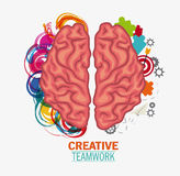 Brain of Creative teamwork concept. Brain puzzle paperplane and target icon. Creative teamwork and big idea theme. Colorful and isolated design. Vector Royalty Free Stock Image