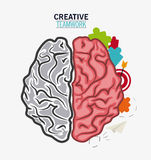 Brain of Creative teamwork concept. Brain puzzle paperplane and target icon. Creative teamwork and big idea theme. Colorful and isolated design. Vector Royalty Free Stock Photos