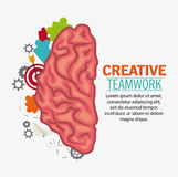 Brain of Creative teamwork concept. Brain puzzle paperplane and target icon. Creative teamwork and big idea theme. Colorful and isolated design. Vector Stock Photos