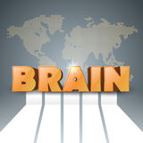 Brain 3d business infographics. Brain 3d logo on the grey background Royalty Free Stock Photo