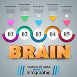Brain 3d business infographics. Brain 3d idea on the grey background Royalty Free Stock Photography