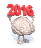 Brain with the 3D inscription 2016. Brain with arms, legs and the 3D inscription 2016 royalty free illustration