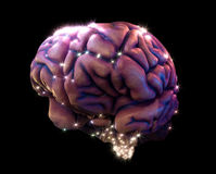 Brain depiction. Human brain depiction with neurotransmitters Stock Photo