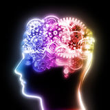 Brain design by cogs and gears. Brain design by cogs and gear wheel ,creative concept Royalty Free Stock Photos