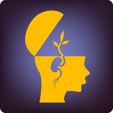 Brain development. Germinating brain tissue as brain development symbol stock illustration