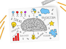 Brain develops new business of idea Royalty Free Stock Image