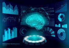 Brain diagnostic treatment low poly 3D HUD. Drug nootropic stimulant smart display. Medicine cognitive rehabilitation in. Alzheimer disease and dementia doctor stock illustration