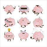 Brain Different Activities And Emotions symbolsuppsättning Royaltyfri Fotografi
