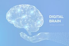 Brain. Digital brain in hand. 3D Science and Technology concept. Neural network. IQ testing, artificial intelligence virtual. Emulation science technology royalty free illustration