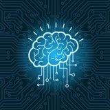 Brain Digital Form Icon Over Blue Circuit Background. Vector Illustration Royalty Free Stock Photo