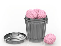 The brain discarded in the trash can Stock Photos