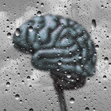 Brain Disease Concept. And dementia or depression as a mental health and neurology medical symbol with a thinking human organ as a foggy rain drop window as a stock illustration