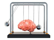 Brain disease or destruction, memory loss concept. Newton`s cradle with brain. 3D rendering. Isolated on white background vector illustration